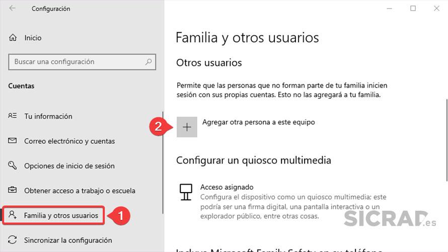 PASO 3 - Crear una cuenta local en Windows 10 desde la configuración de Windows