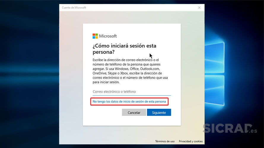 PASO 4 - Crear una cuenta local en Windows 10 desde la configuración de Windows